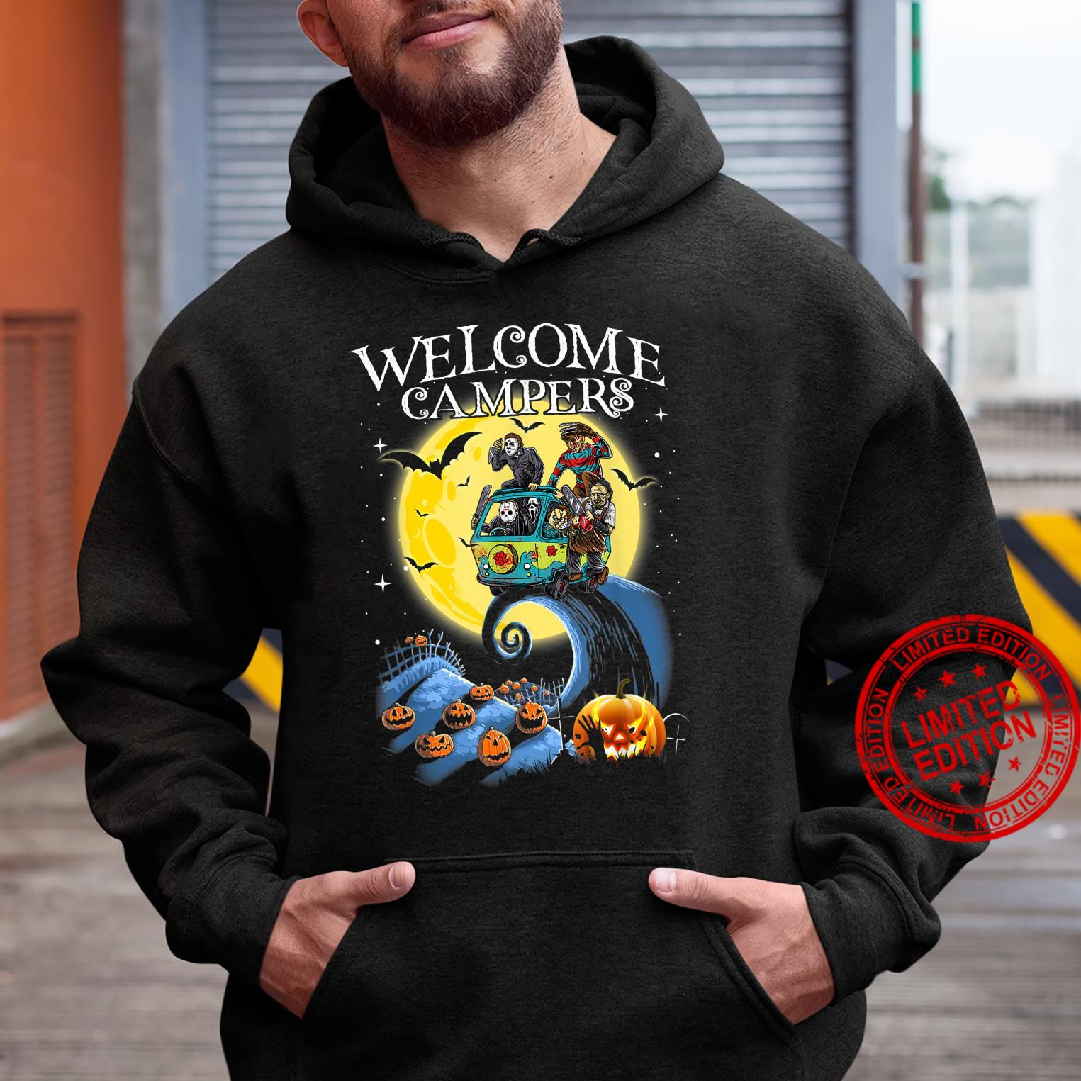 Welcome Campers Funny Camping 80s Horror shirt hoodie