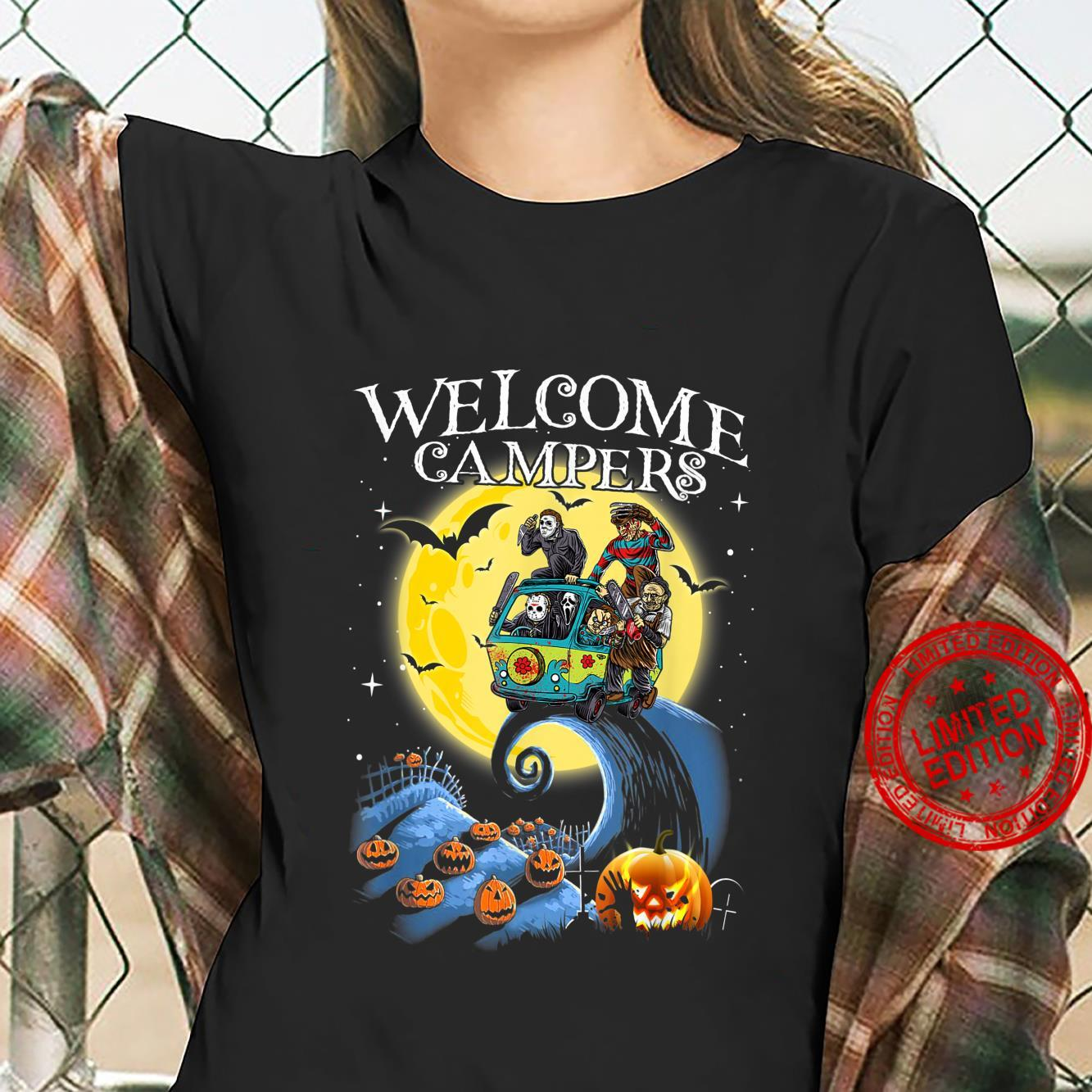 Welcome Campers Funny Camping 80s Horror shirt ladies tee