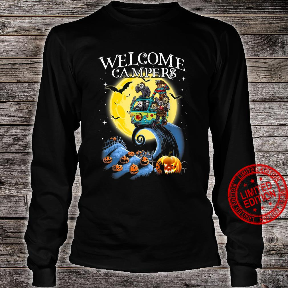 Welcome Campers Funny Camping 80s Horror shirt long sleeved