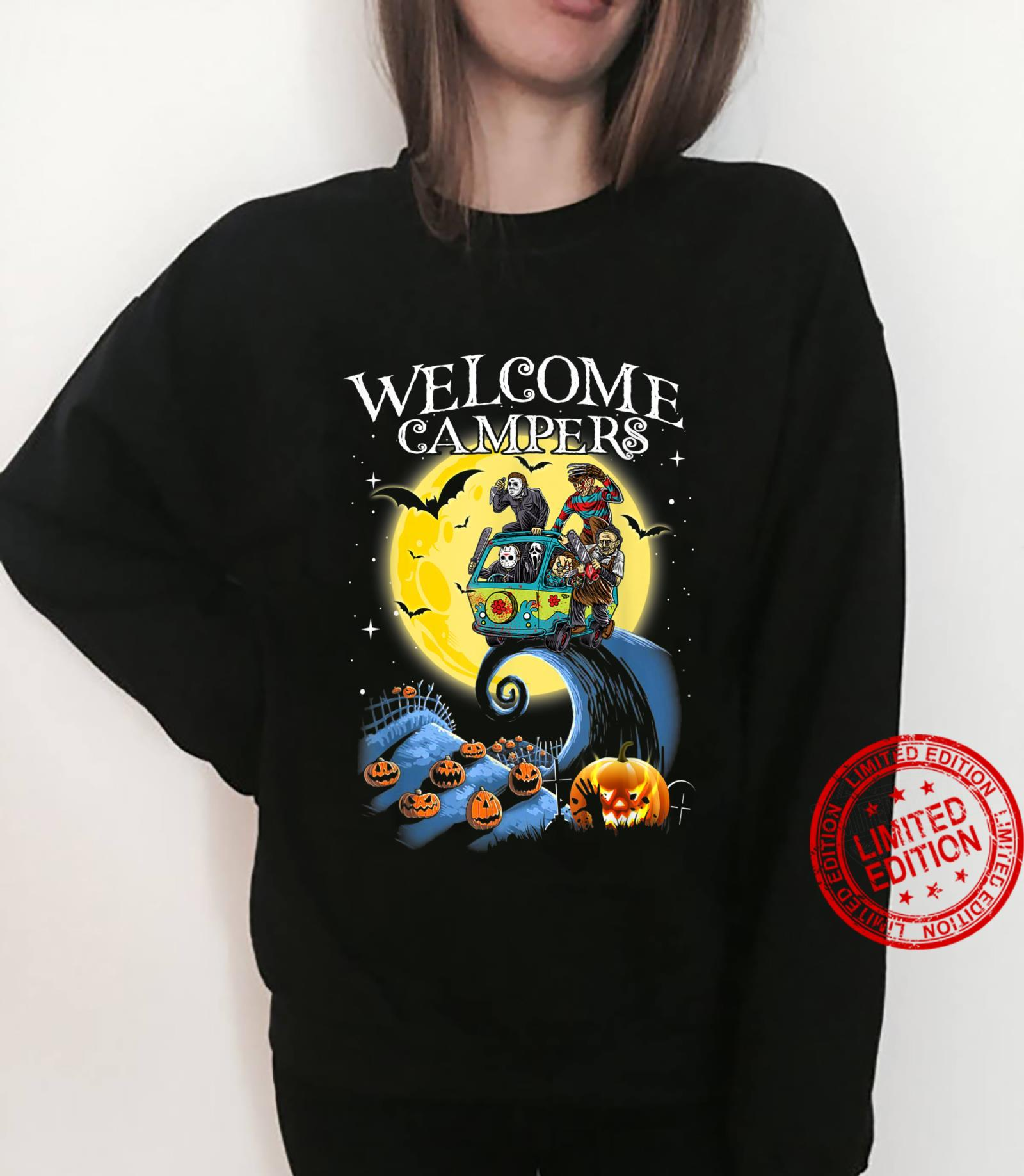 Welcome Campers Funny Camping 80s Horror shirt sweater