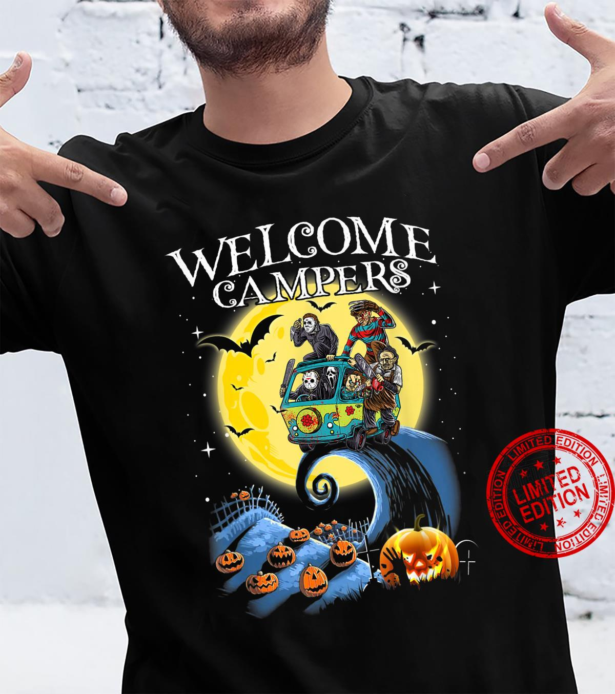 Welcome Campers Funny Camping 80s Horror shirt